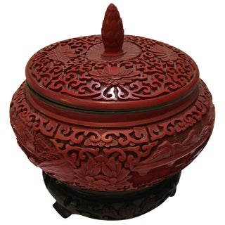 Chinese Hand Carved Red Cinnabar Lacquer Urn