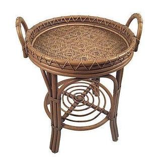 Bamboo and Wicker Tray Top Table