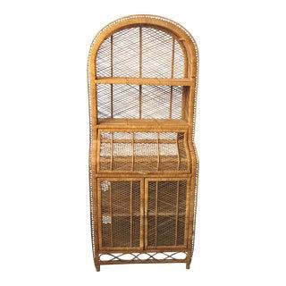 70s Rattan Secretary Shelves With Doors
