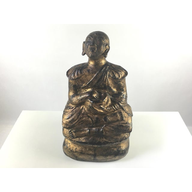 1930s Gilded Sitting Medicine Buddha Sculpture - Image 2 of 10