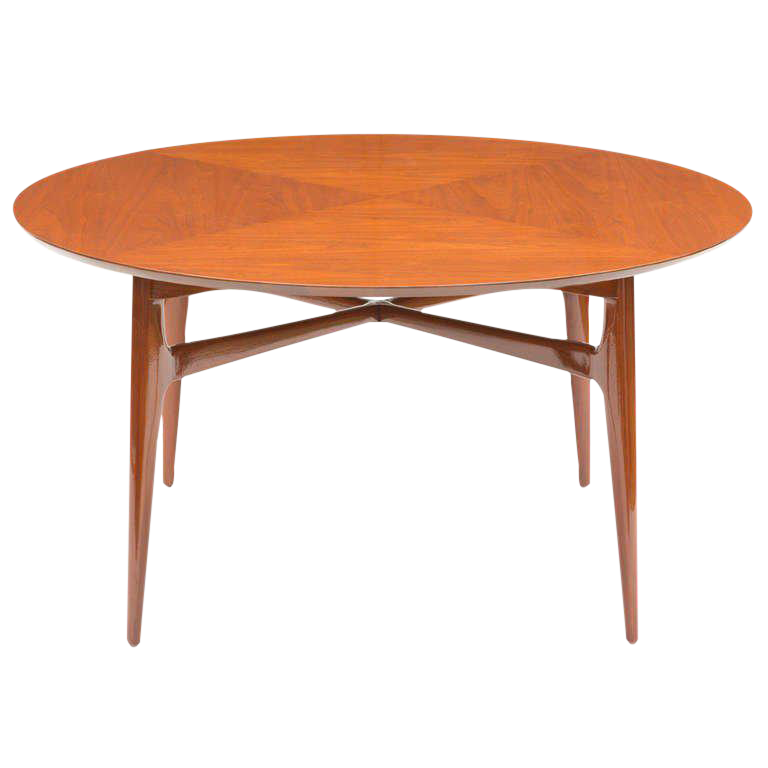 Edward Wormley Walnut Round Tea Table