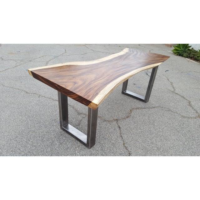 Solid Slab Acacia Live Edge Wood Table - Image 3 of 9