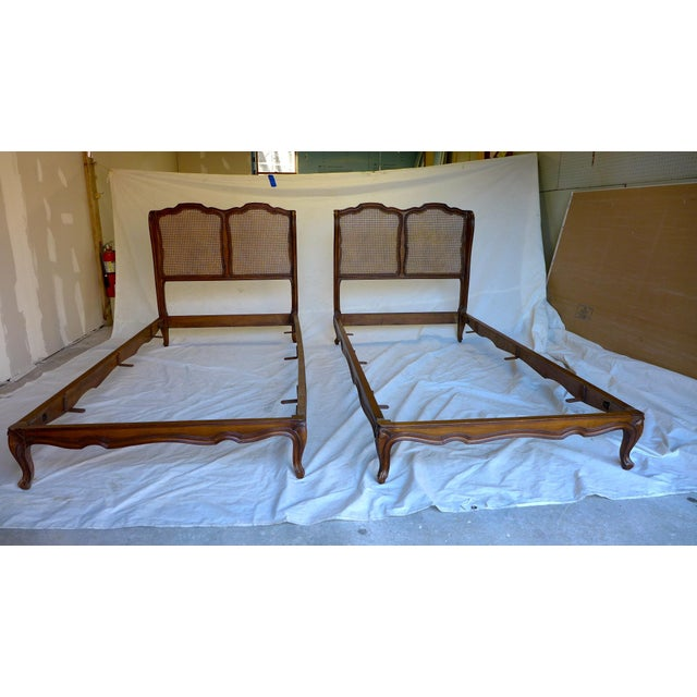 Antique french country style caned twin beds a pair for French country style beds