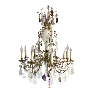 19th C French Amethyst Quartz, Rock Crystal and Rose Quart Chandelier
