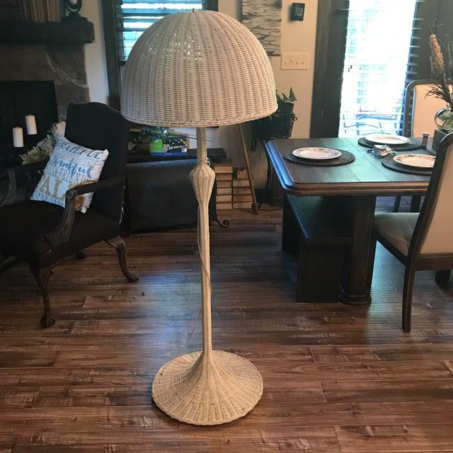 Mid-Century White Wicker Floor Lamp - Image 2 of 6