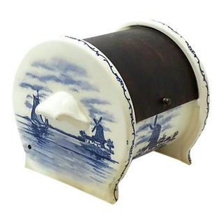 Antique Delft Style Salt Barrel