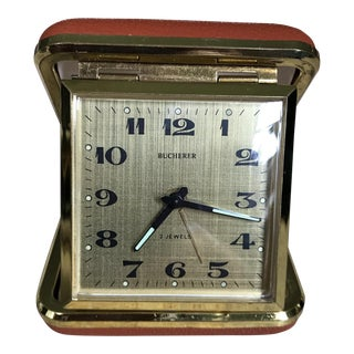 Vintage Bucherer German 2 Jewel Travel Clock