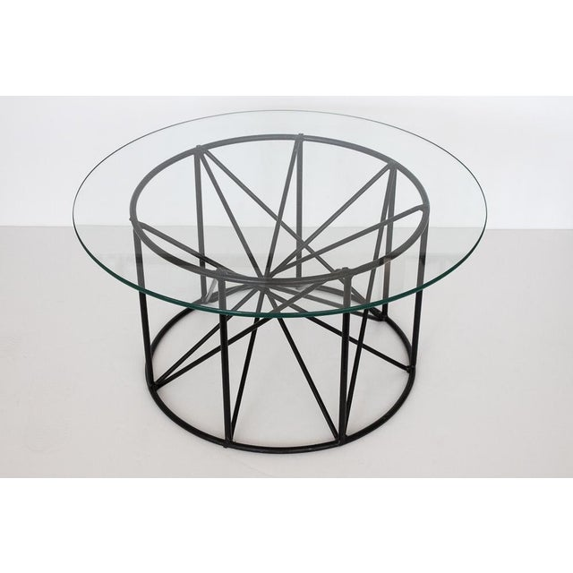 Black Steel Spokes Sculptural Glass Coffee Table - Image 2 of 9