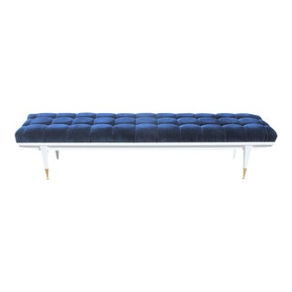 French Art Deco Snow White Lacquered Long Sitting Bench, circa 1940s.