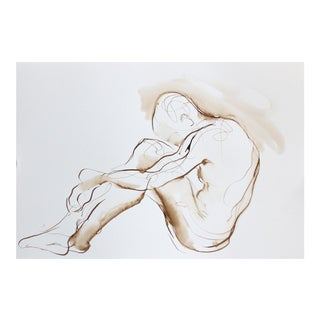 Framed Huddled Male Figure Drawing