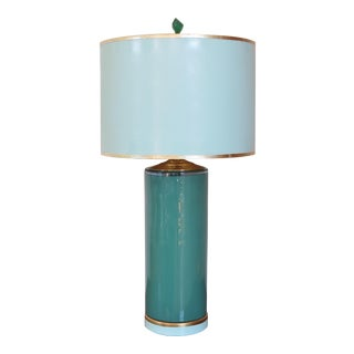 Two-tone Glass Lamp with Custom French Gold Leaf Lacquered Shade