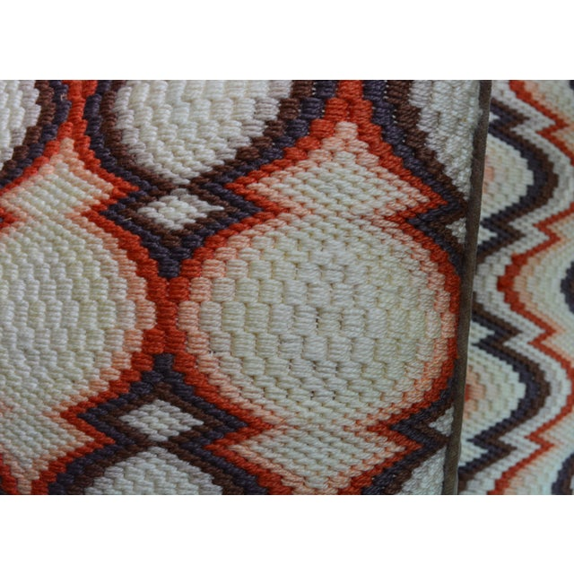 1970s Needlepoint Geometric Pillows - a Pair - Image 6 of 7