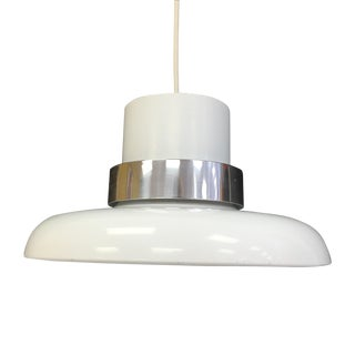 Lightolier White & Chrome Pendant Light