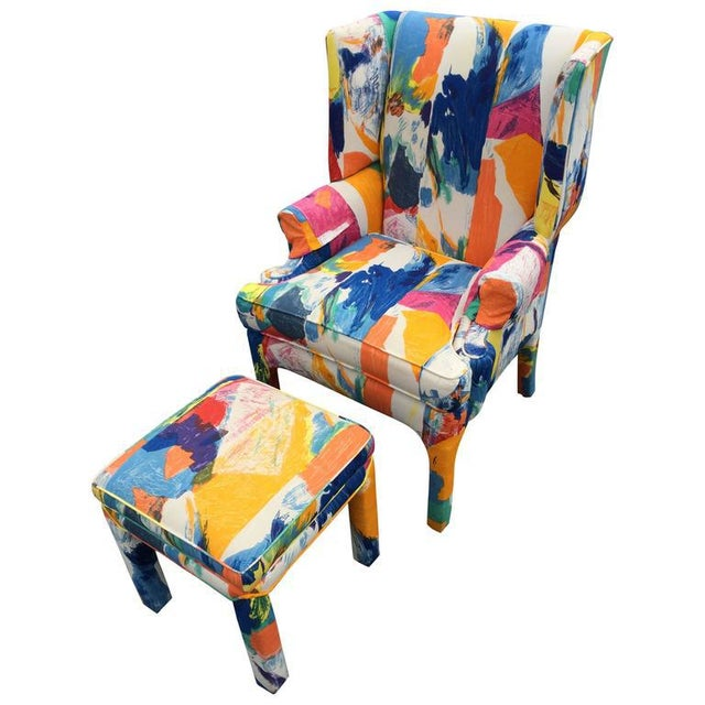 Mid-Century Wing Back Chair & Ottoman - Image 11 of 11