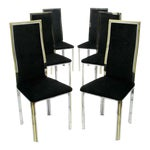 Image of Six Chrome & Brass Dining Chairs Attributed to Romeo Rega