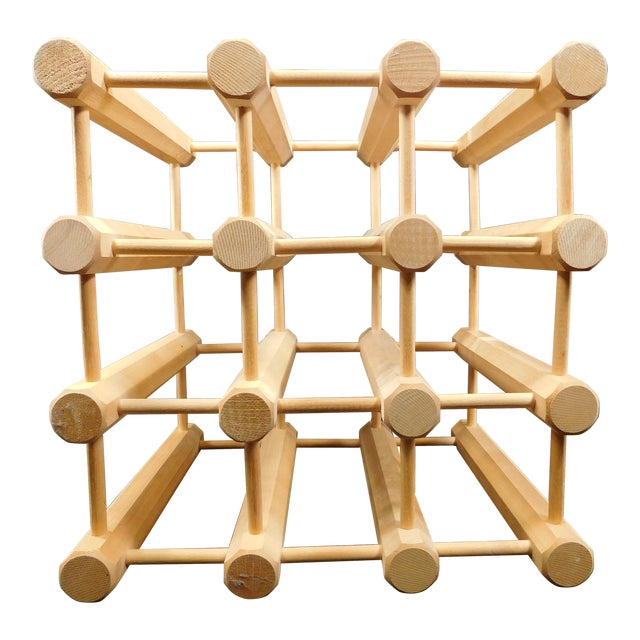 Modern Homes Peg: Mid-Century Modern Wooden Peg Dowel 9 Wine Rack