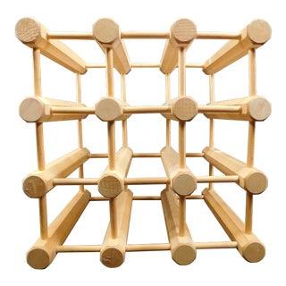 Mid-Century Modern Wooden Peg Dowel 9 Wine Rack