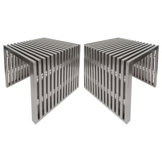 Fine Stainless Steel & Lucite Side Tables - A Pair