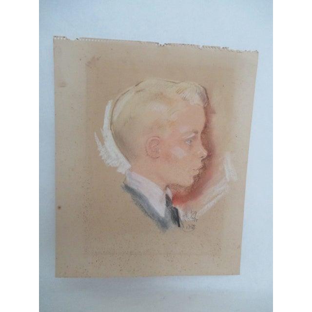 Vintage Pastel Portrait of a Blond Boy - Image 2 of 6