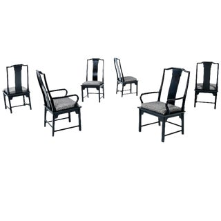 Black Chin Hua Chinese Inspired Dining Chairs - Set of 6