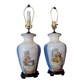 Antique Pastoral Floral Lamps - A Pair