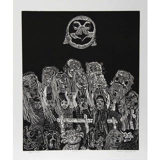 Manuel Izqueirdo, Night Festival (Black), Woodcut