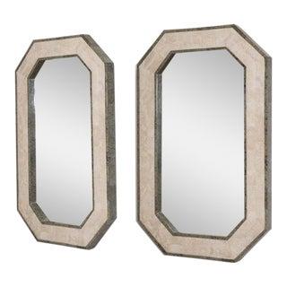 A Pair of Maitland-Smith Stone Venveered Octagonal Mirrors, 1980s
