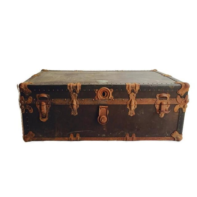 """Antique Steamer Trunk Pirate Chest 35"""" - Image 5 of 7"""