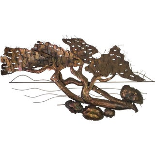 Mid-Century Mixed Metal Tree Wall Scupture