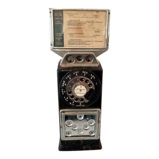 Vintage 1960's Black Pay Phone GTE