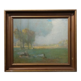 Carl Schmitt -Beautiful Stormy Day- original 1920s Oil painting -East Coast Impressionist oil painting on canvas - signed