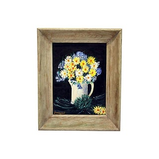 Framed Oil Painting of Primitive Wildflowers