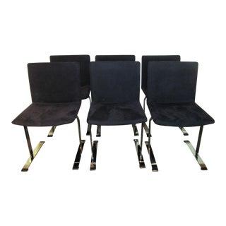 Saporiti Design Saphire Blue & Chrome Chairs - Set of 6
