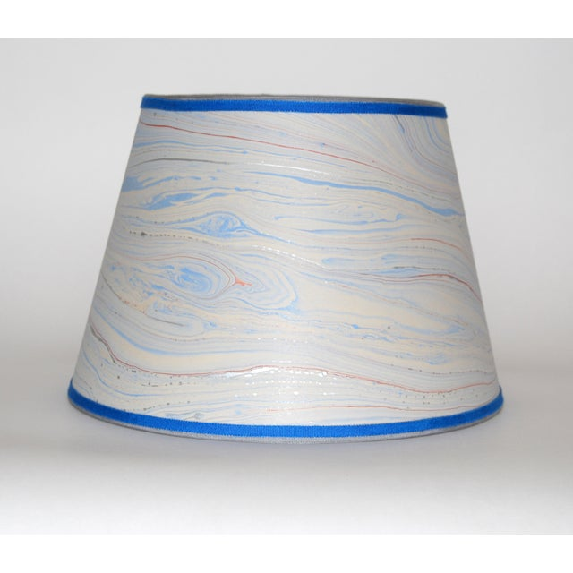 Blue Marble & Silver Lampshade - Image 2 of 4