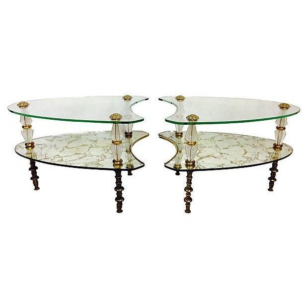Églomisé Kidney Side Tables - A Pair - Image 1 of 6