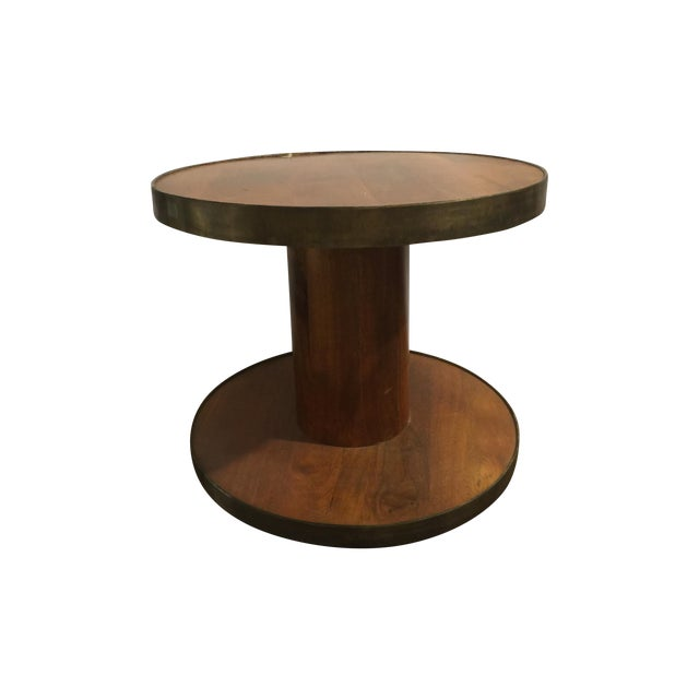 Modern Drum Table With Antique Metal Trim - Image 1 of 4