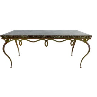 Mid-Century Marble Top Forged Iron Coffee Table