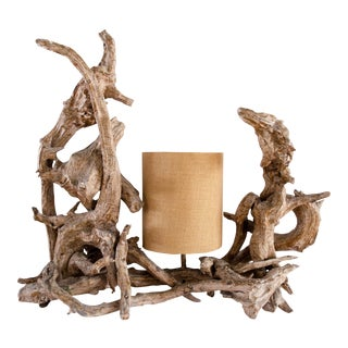 Gold Brushed Driftwood Lamp