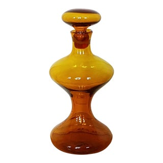 Blenko Yellow Hourglass Decanter