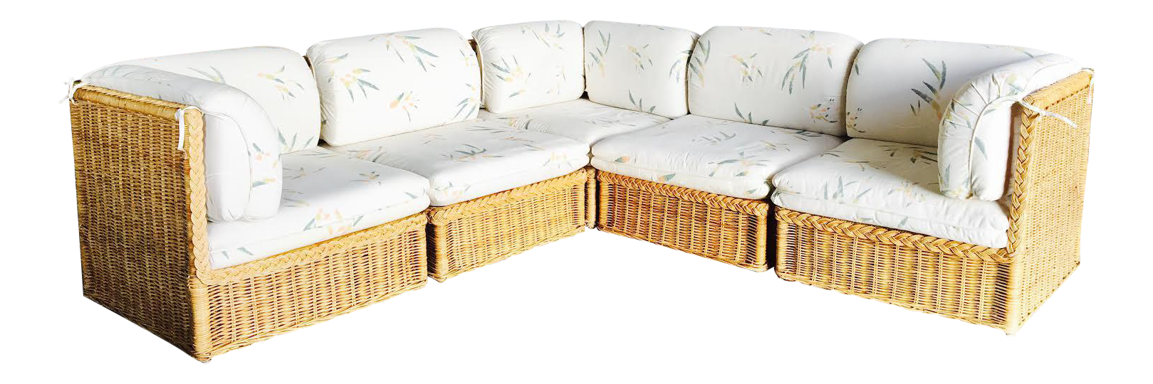 Vintage Tuxedo Shaped Woven Wicker Sectional Sofa  sc 1 st  Chairish : tuxedo sectional sofa - Sectionals, Sofas & Couches