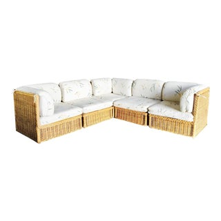 Vintage Tuxedo Shaped Woven Wicker Sectional Sofa