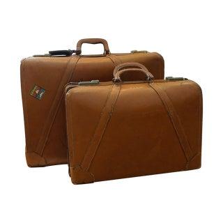 Vintage Leather Luggage – Set of 2