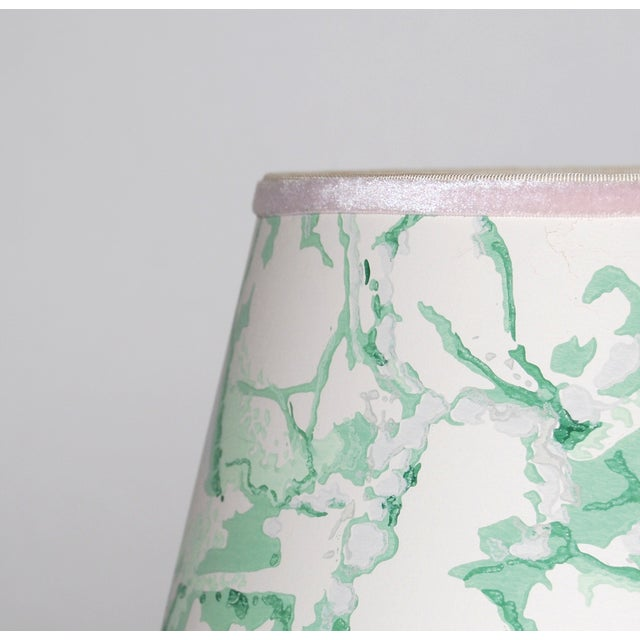 Green & White Marble Vintage Wallpaper Lampshade - Image 3 of 4