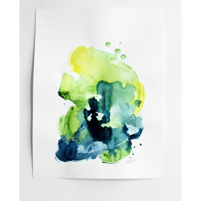 "Ellen Sherman ""Verdant 2"" Watercolor Painting - Image 2 of 3"