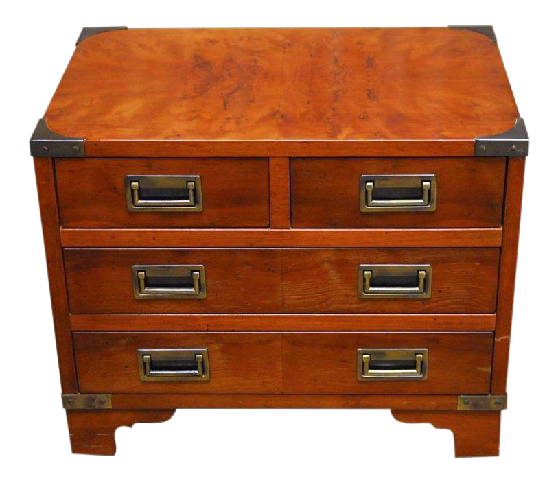 Captivating Diminutive Campaign Style Chest Or Dresser By Hekman