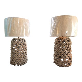 X Archival Rope Macrame Table Lamps - A Pair