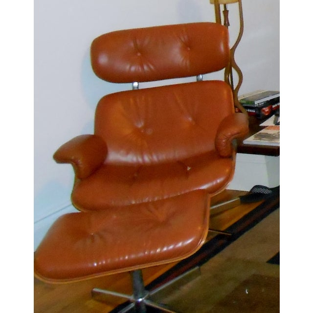 Image of Eames Mid-Century Style Chair And Ottoman