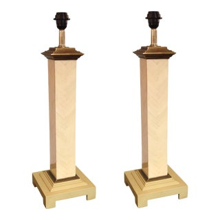 Pair of Maitland-Smith White-Tiled Column Lamps
