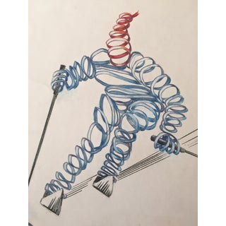Mid-Century Surrealist Downhill Skier Drawing
