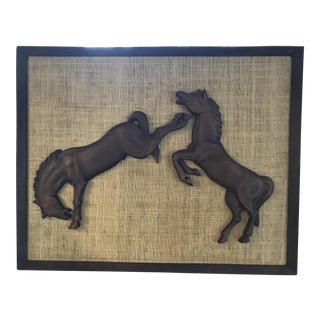 Mid-Century Wood Horses on Canvas
